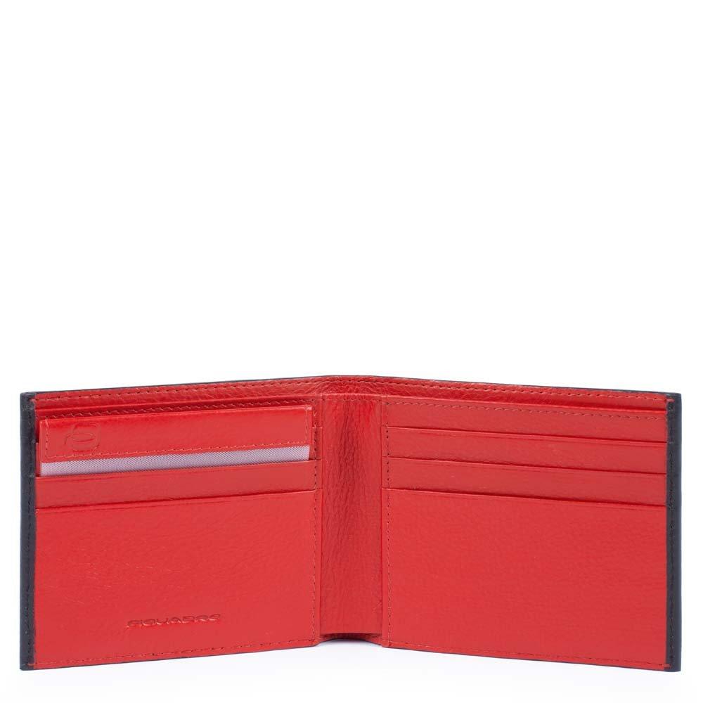 Piquadro Portafoglio Splash uomo con portadocumenti rimovibile Nero e Rosso