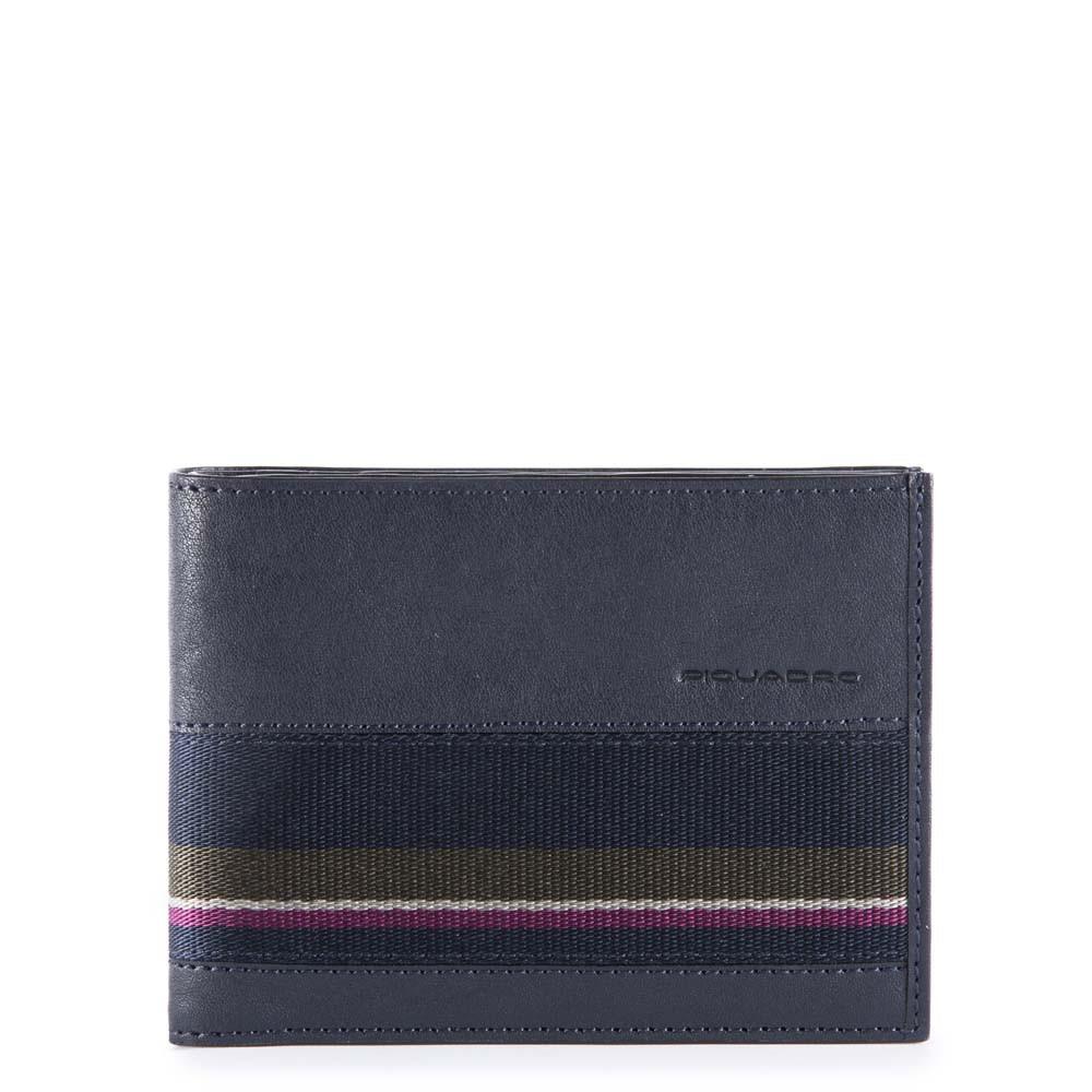 Piquadro Portafoglio uomo B3S con porta documenti, portamonete Blu Notte