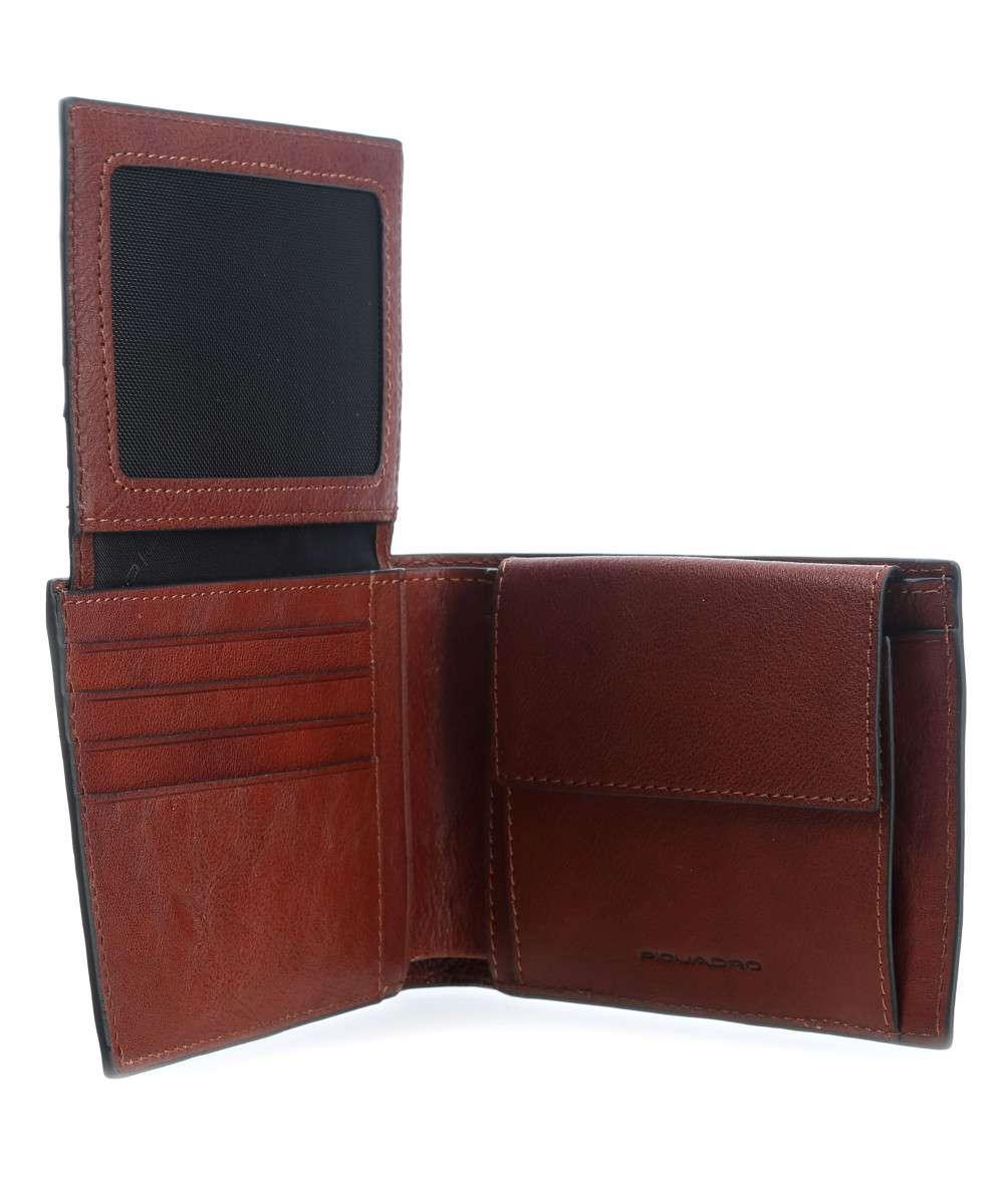 Piquadro Portafoglio uomo Black Square con porta documenti-monete-carte di credito e anti-frode Cuoio