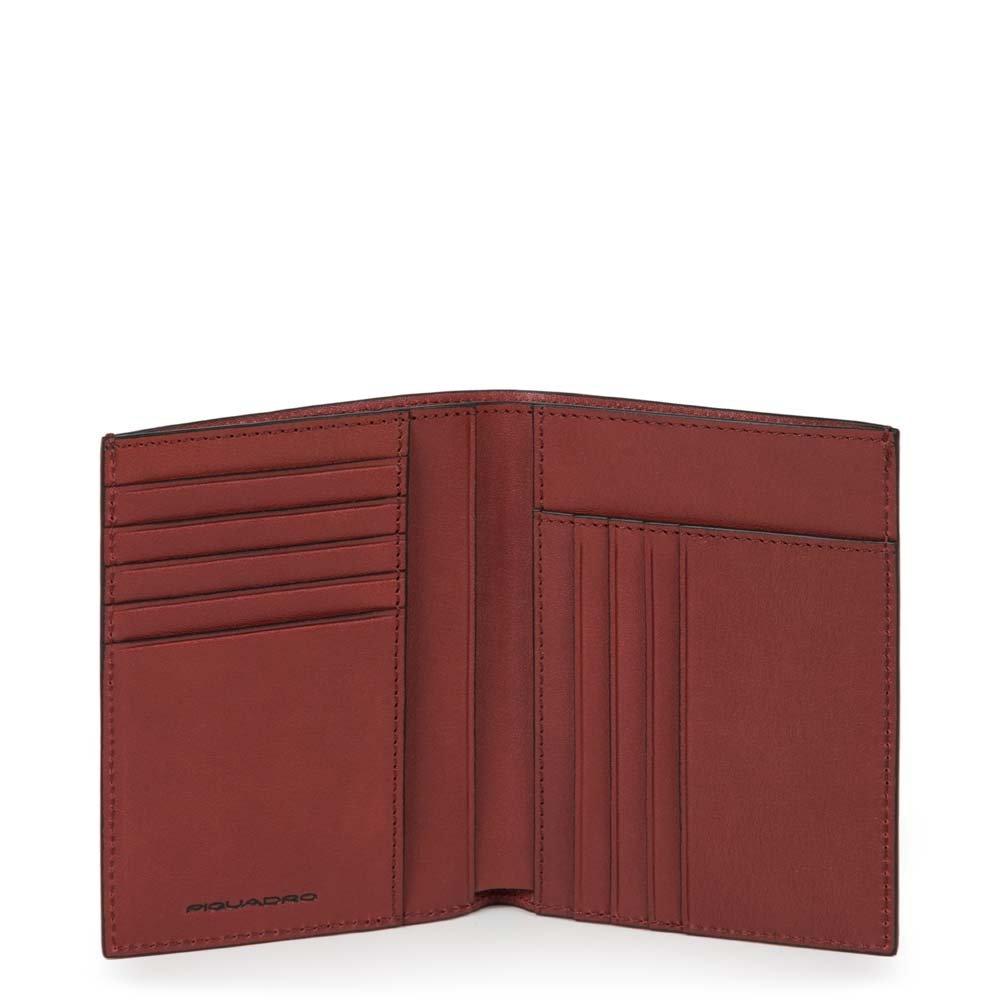 Piquadro Portafoglio uomo Black Square verticale Rosso mattone