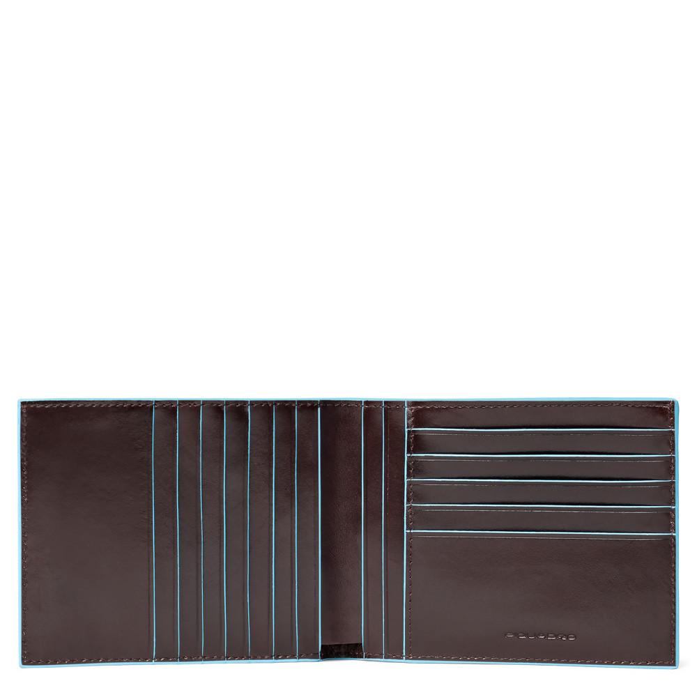 Piquadro Portafoglio uomo Blu Square  con 12 porta carte di credito Mogano
