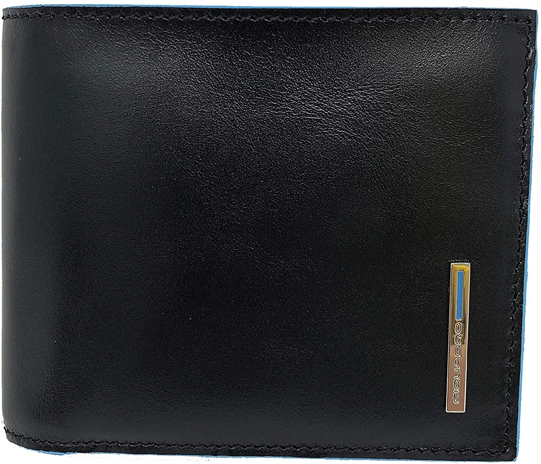 Piquadro Portafoglio uomo con porta documenti, porta monete, porta carte di credito e anti-frode RFID Nero