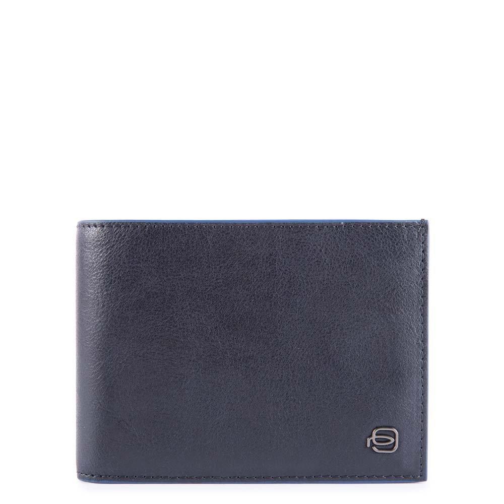 Piquadro Portafoglio uomo con portamonete e protezione anti-frode RFID Blue Square Blu Notte