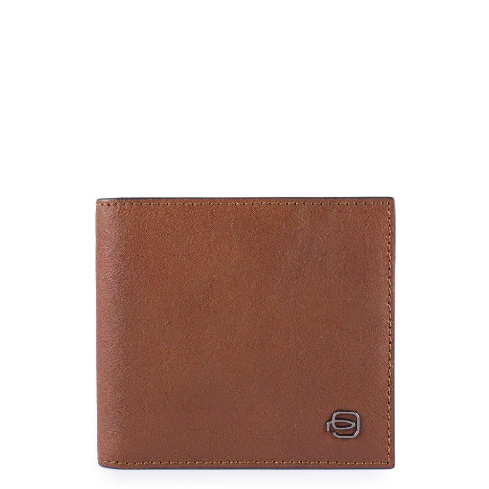 Piquadro Portafoglio uomo con portamonete, porta carte di Black Square Cuoio Tabacco