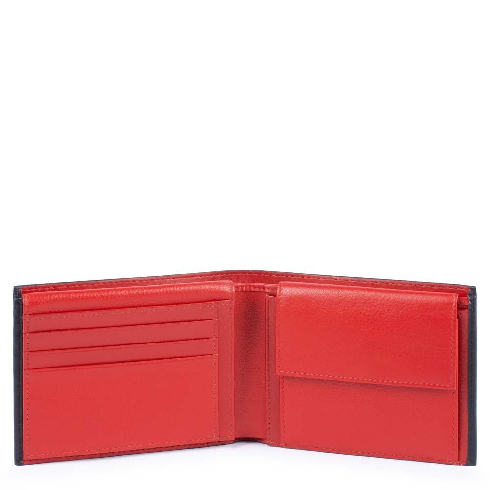 Piquadro Portafoglio uomo Splash con portadocumenti Nero e Rosso