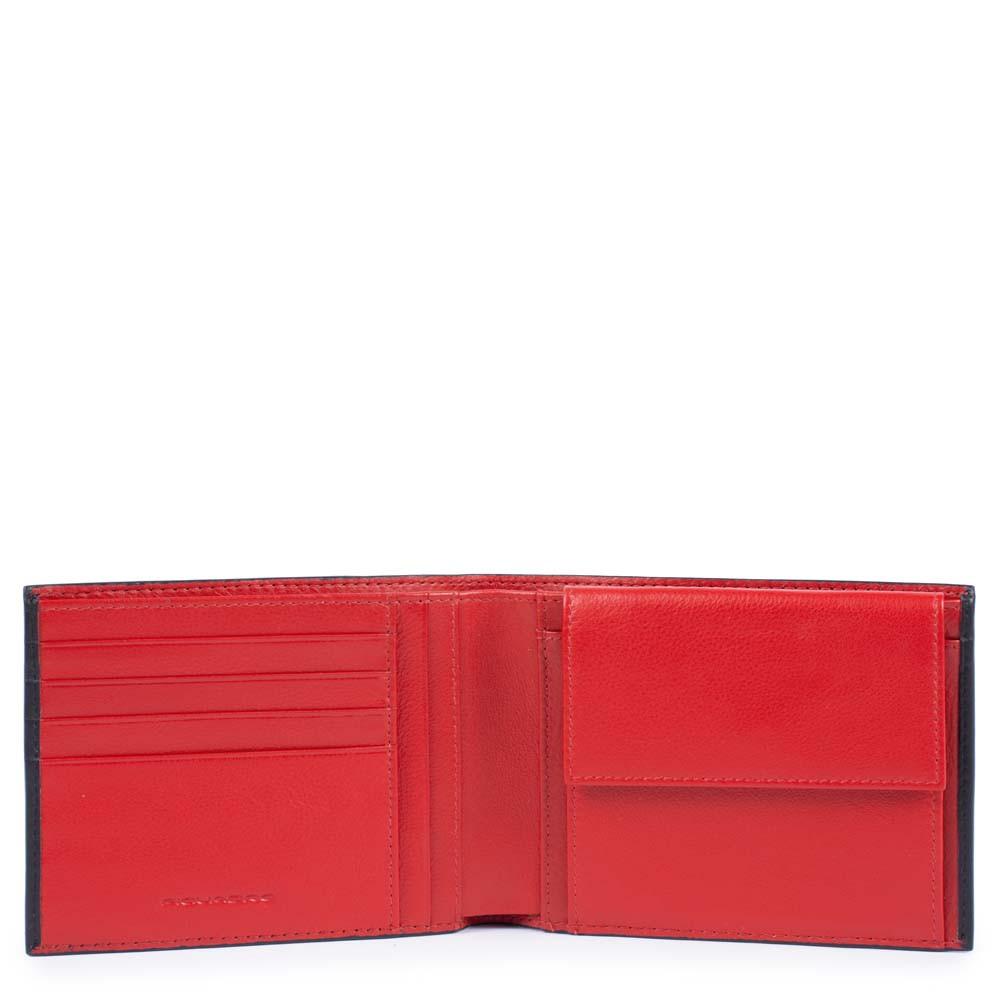 Piquadro Portafoglio uomo Splash con portamonete Nero e Rosso