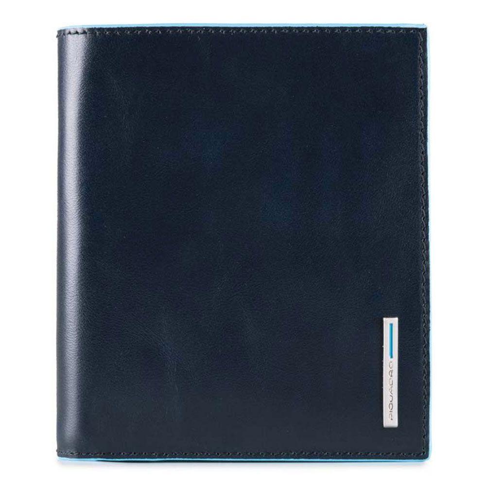 Piquadro Portafoglio uomo verticale in pelle Blue Square con protezione RFID Blu Notte