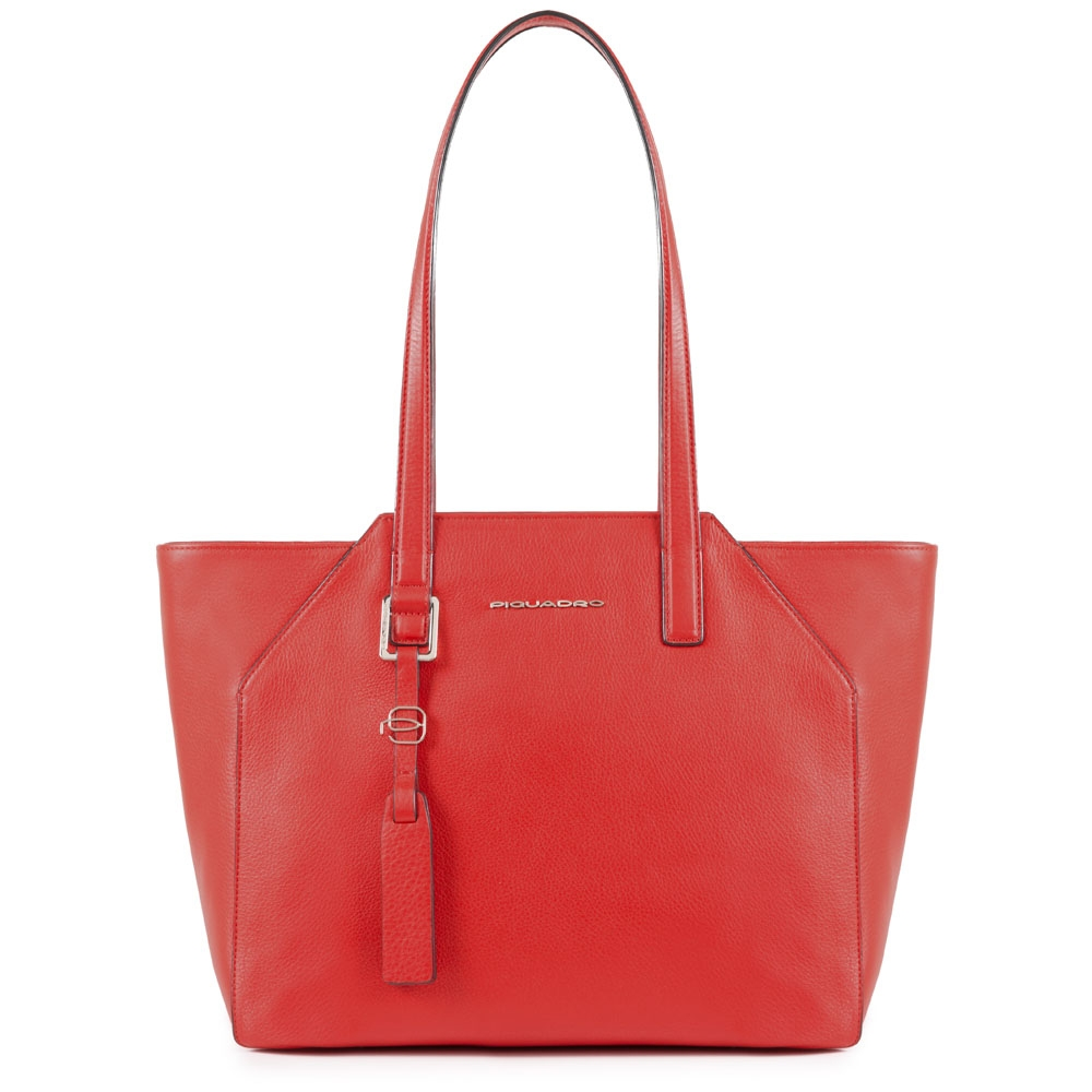 Piquadro Shopper Muse media in pelle Rosso scarlatto