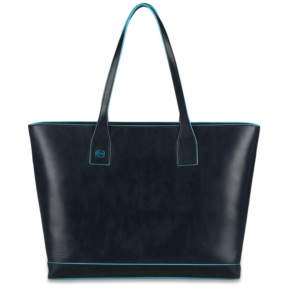 Piquadro Shopping bag Blue Square in pelle sfoderata Blu Notte