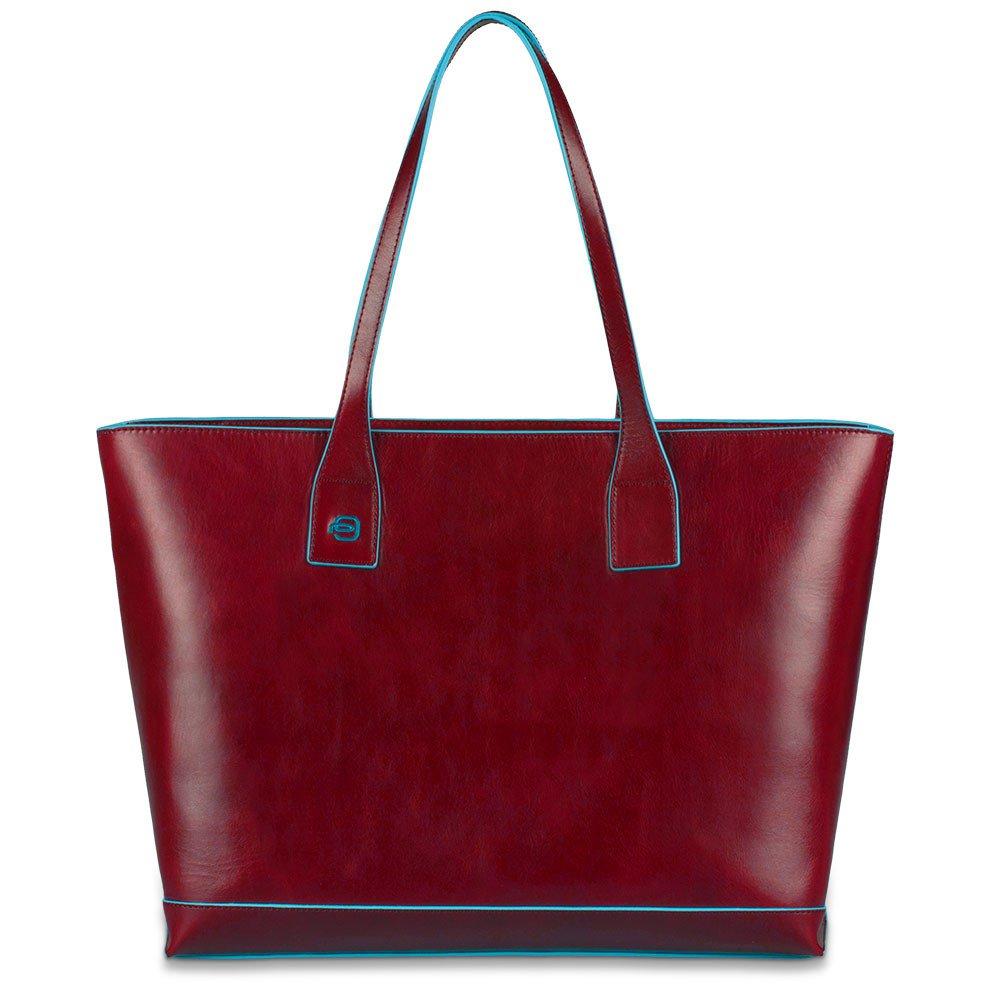 Piquadro Shopping bag Blue Square in pelle sfoderata Rosso