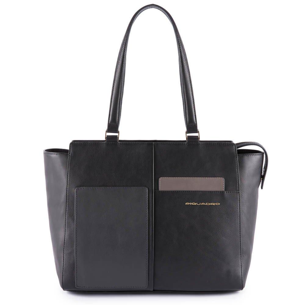 Piquadro Shopping bag con tasca per CONNEQU Echo Nero