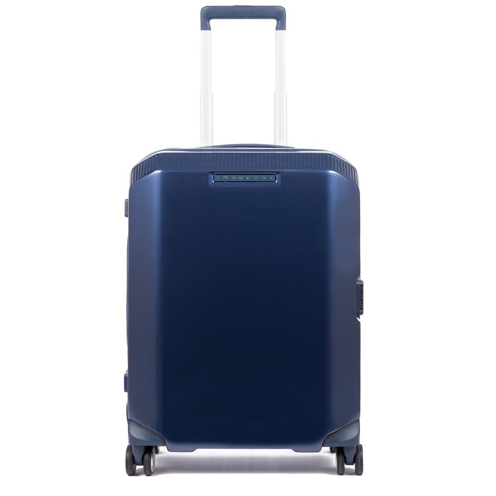 Piquadro Trolley cabina rigido Ultra Slim a 4 ruote PiQ3 Blu