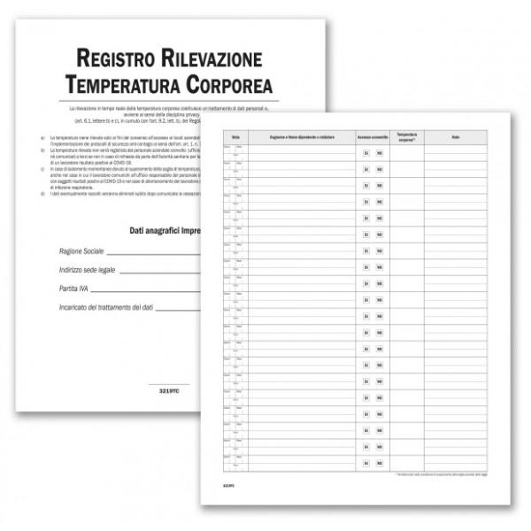 Registro per la Rilevazione Temperatura Corporea - 24 pagg - F.to 31x24,5 cm.