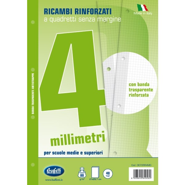 Ricambi bianchi per quaderni A4 quadretti 4mm con banda rinforzafori 40 fogli