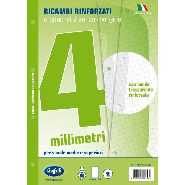 Ricambi bianchi per quaderni A5 quadretti 4mm con banda rinforzafori 40 fogli