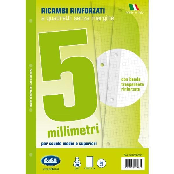Ricambi bianchi per quaderni A5 quadretti 5mm con banda rinforzafori 40 fogli