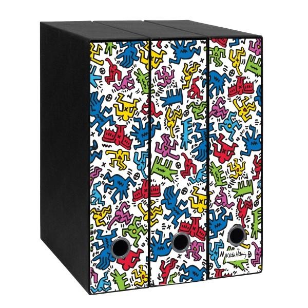 Set tre registratori Image - Formato Protocollo - Dorso 8 cm - Keith Haring - Texture
