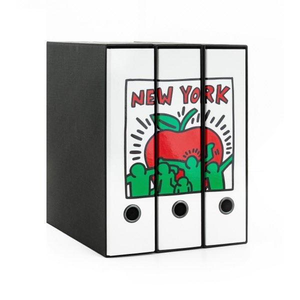 Set tre registratori Image - Formato Protocollo - Dorso 8 cm - Keith Haring - Mela New York