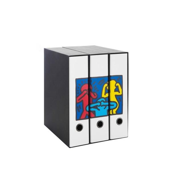 Set tre registratori Image - Formato Protocollo - Dorso 8 cm - Keith Haring - Non vedo non sento non parlo