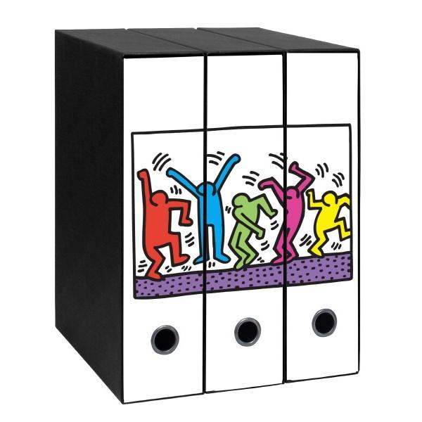 Set tre registratori Image - Formato Protocollo - Dorso 8 cm - Keith Haring - Omini danzanti