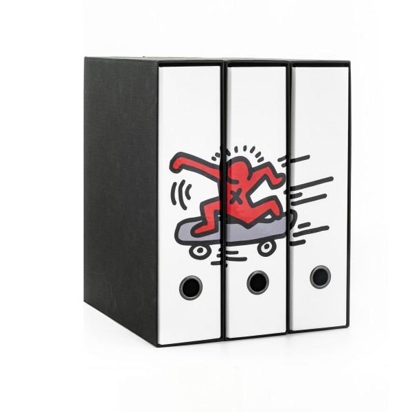 Set tre registratori Image - Formato Protocollo - Dorso 8 cm - Keith Haring - Skate