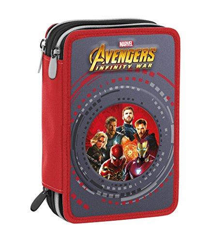 Seven Marvel Avengers Astuccio Zip Rosso-grigio