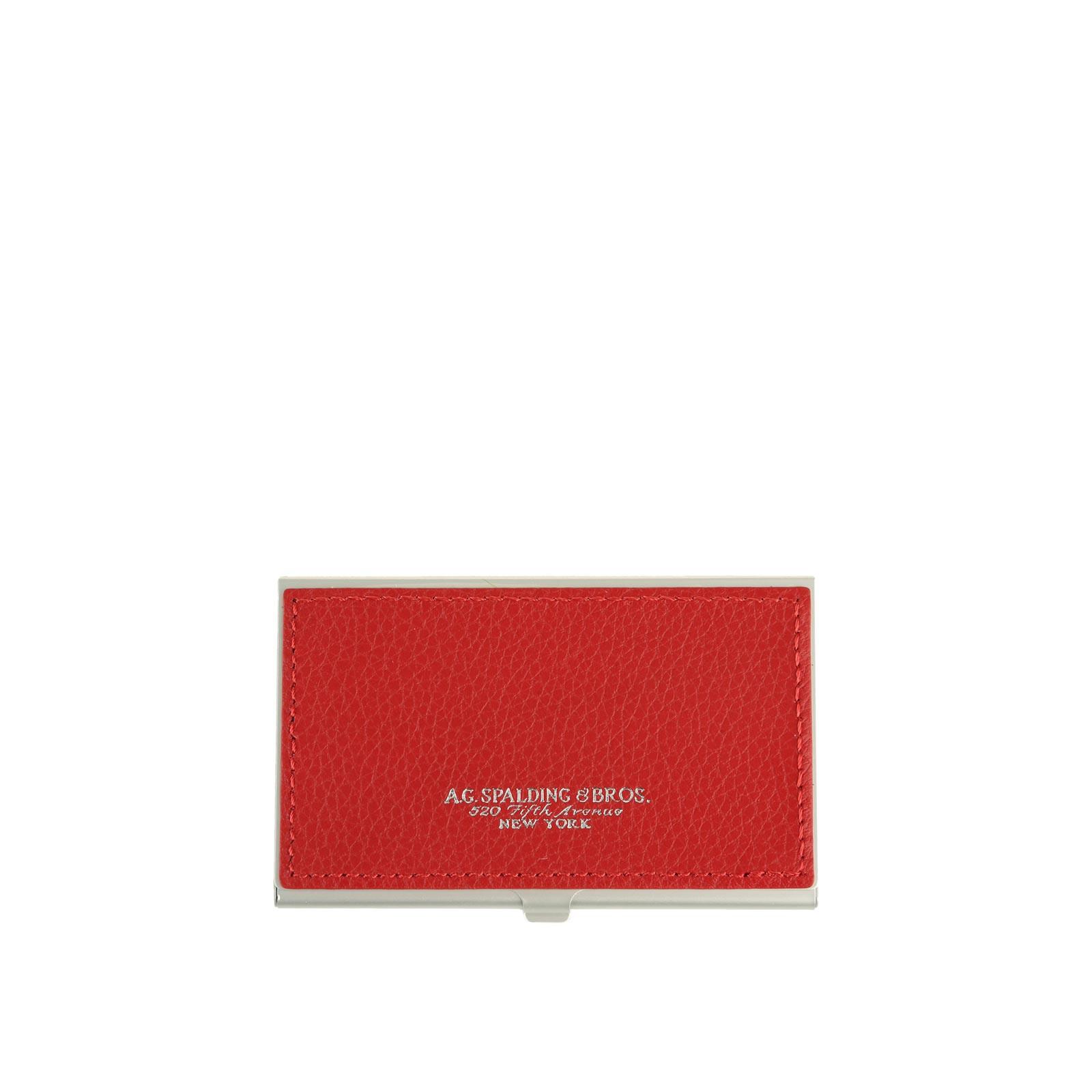 Spalding e Bros Porta Biglietti da visita in Alluminio e Pelle Rosso