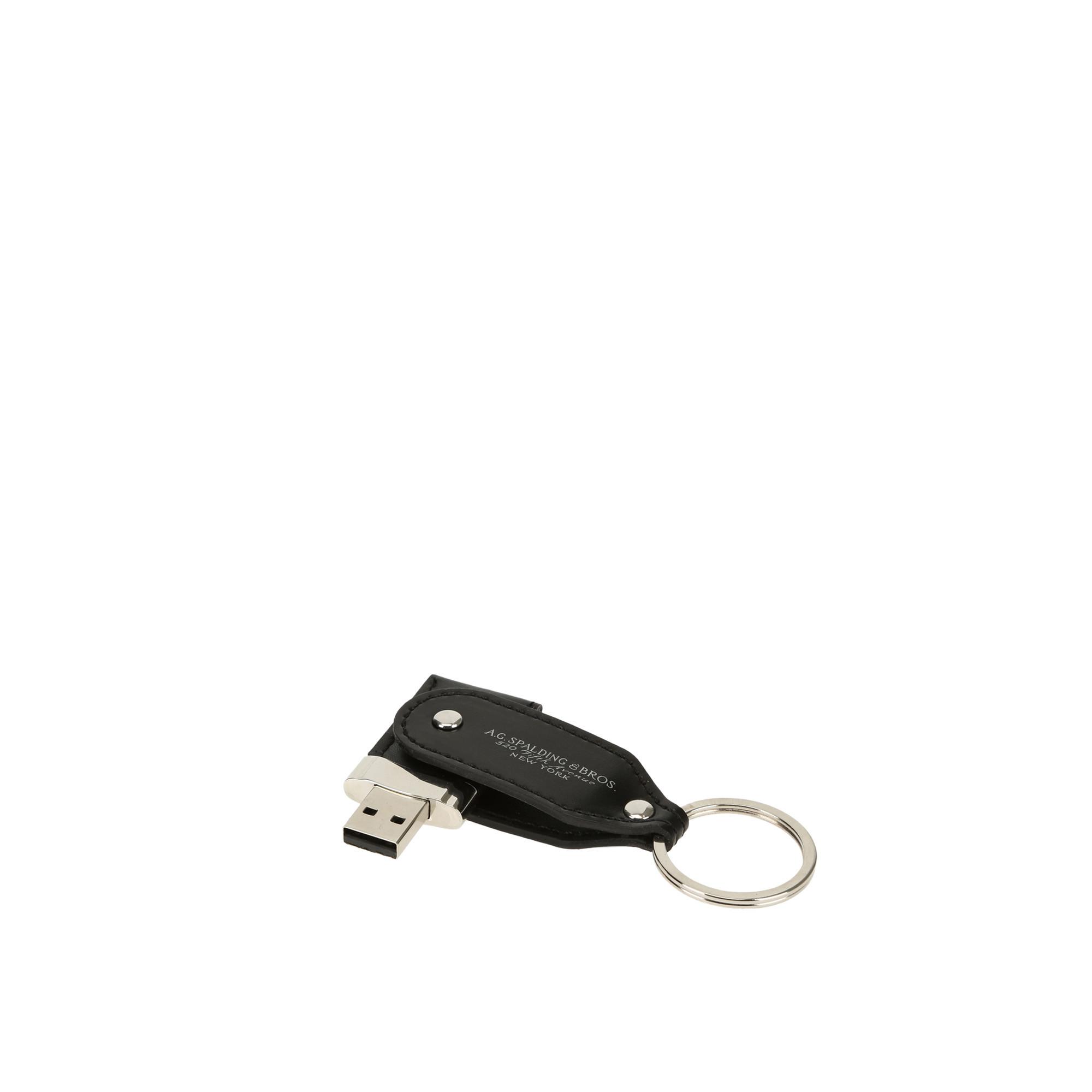 Spalding e Bros Portachiavi con chiavetta USB 16GB in pelle Nero