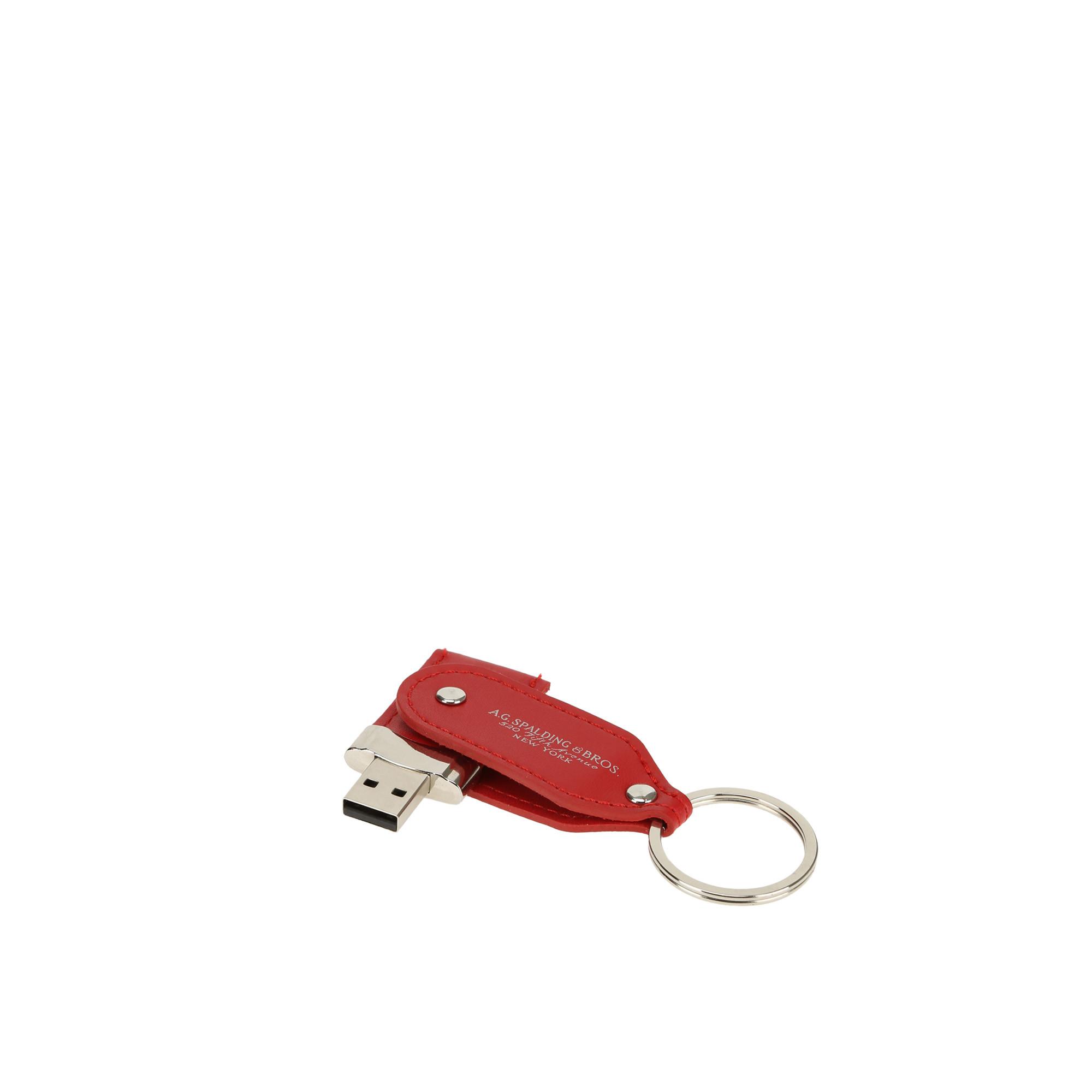 Spalding e Bros Portachiavi con chiavetta USB 16GB in pelle Rossa