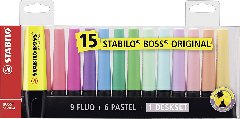 STABILO BOSS ORIGINAL Desk-Set - 15 Colori assortiti 9 Neon + 6 Pastel