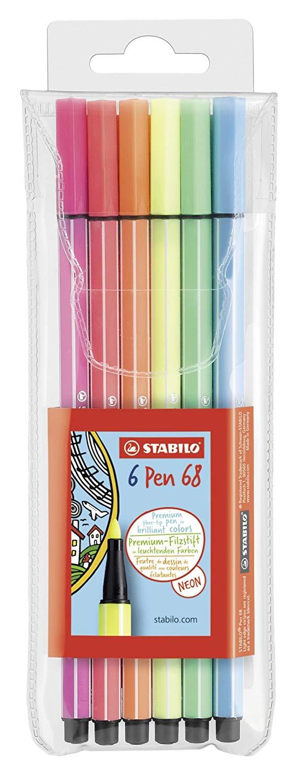 STABILO Pen 68 Astuccio da 6 Colori NEON