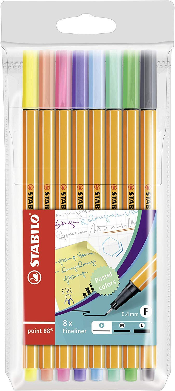 STABILO Point 88 Pastel  Astuccio da 8  Colori pastello assortiti