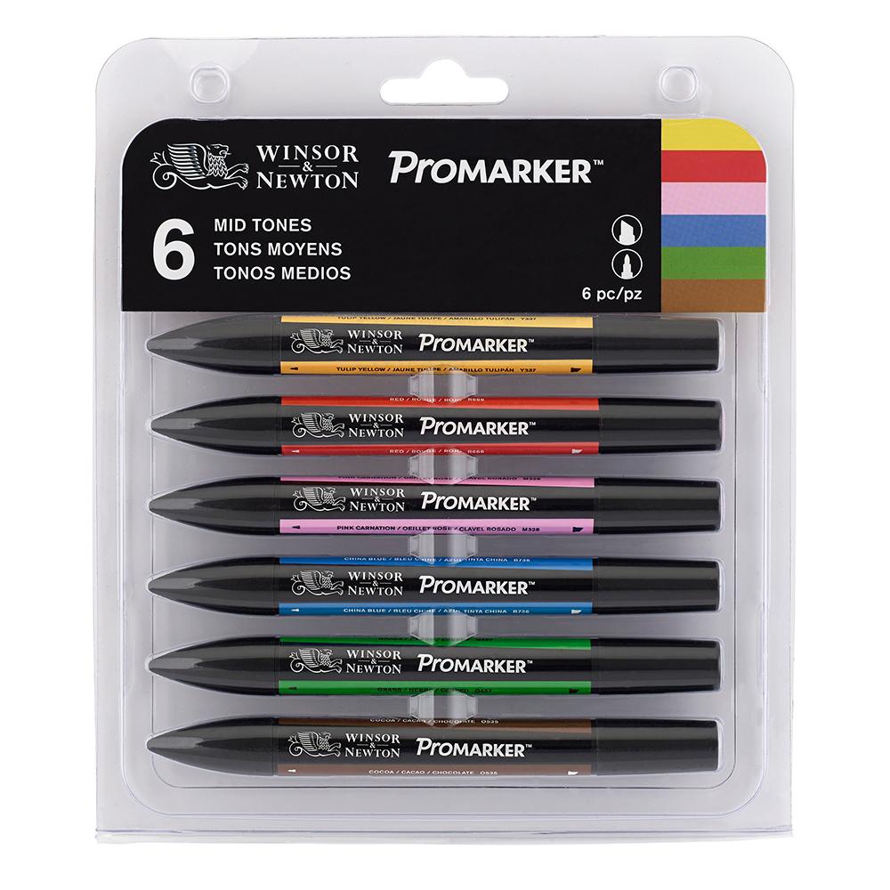 Winsor & Newton Kit Pro Marker  6 pz toni medi
