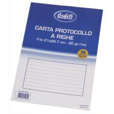 Buffetti Carta protocollo A4 Rigatura 1R - Righe medie e superiori 20 fogli 60 g