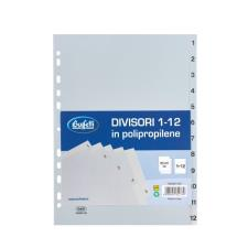 Buffetti Divisori - Polipropilene - 1-12 tasti numerici - A4 - grigio