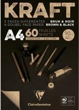 Claire Fontaine Blocco Brown & Black  Carta Kraft 90g A4