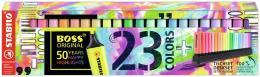 Evidenziatore - STABILO BOSS ORIGINAL Desk-Set 50 Years Edition - 23 Colori assortiti 9 Neon + 14 Pastel