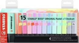 Evidenziatore - STABILO BOSS ORIGINAL Pastel Desk-Set - 15 Evidenziatori Pastel