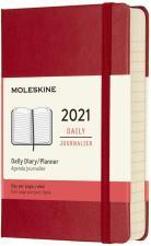 Moleskine Agenda Giornaliera 12 Mesi 2021, Rossa Copertina Rigida Pocket