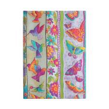 Paperblanks Agenda Midi 18 mesi orizzontale settimanale 2022 chiusura con fascia elastica Farfalle e Colibrì Multicolore