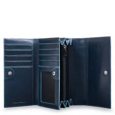 Piquadro Blue Seeker portafoglio donna a tre soffietti con portamonete Blu