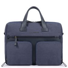 "Piquadro Cartella porta computer 14"" e porta iPad® a due manici Tiros Blu"