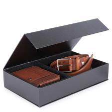 Piquadro Cofanetto regalo Black Square con cintura uomo cuoio