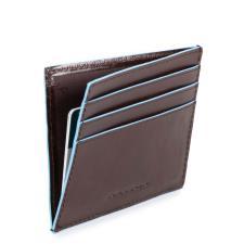 Piquadro Portacarte di credito Blue Square in pelle Mogano