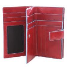 Piquadro Portafoglio donna Blu Square con portamonete e carte credito Rosso
