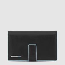Piquadro Portafoglio donna grande con porta carte di credit Blue Square Nero