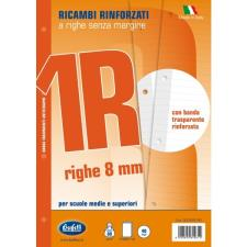 Ricambi bianchi per quaderni A4 1 rigo con banda rinforzafori 40 fogli