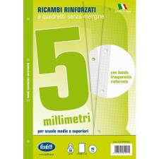 Ricambi bianchi per quaderni A4 quadretti 5mm con banda rinforzafori 40 fogli