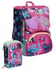 SEVEN Schoolpack Zaino + Astuccio Riempito Seven SJ Gang Face Girl