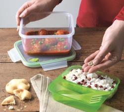 Snips Lunch Box Quadrato 1,4 LT Trasparente-Verde